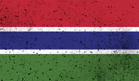 Gambian grunge flag. Vector illustration. Grunge effect can be cleaned easily.