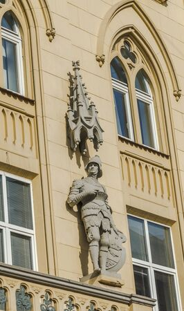 lvov: Statue of a knight on a house in Lvov