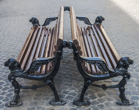 lvov: Benches on the pavement in Lvov