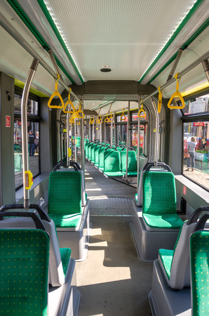 handrails: Seats and handrails inside the passenger tramway Electron T5L64