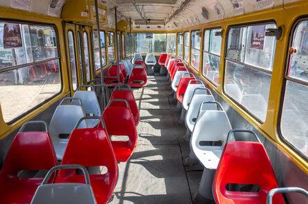 handrails: Seats and handrails inside the passenger tramway Tatra T4SU