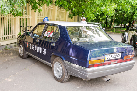lemberg: Lviv Ukraine June 2015: Auto festival Leopolis grand prix 2015. Old vintage retro car Alfa Romeo Carabineri Editorial