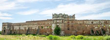selo: The old ruins of the collapsed walls with gates and windows Staroselskiy castle in Stare Selo in the Lviv region in Ukraine