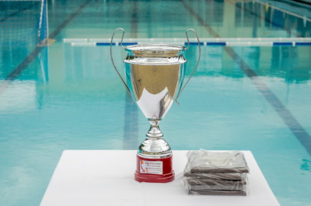 Champions Cup silver color for the winner of the competition in water polo at the background of the swimming pool Archivio Fotografico
