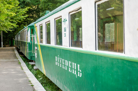Lviv, Ukraine - August 2015: Railway train carriages breeze on the childrens railway in Striysky Park in Lviv