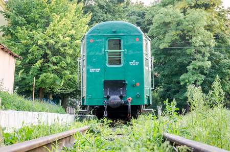 Railway train carriages breeze on the childrens railway in Striysky Park in Lviv