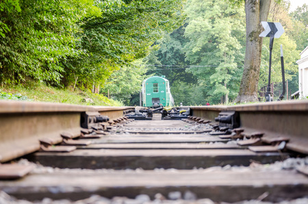 Fork rail on the childrens railway in Striysky Park in Lviv Editorial