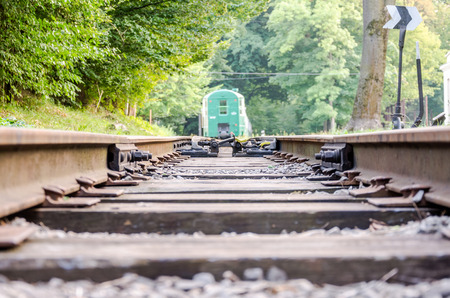 turnout gear: Fork rail on the childrens railway in Striysky Park in Lviv Editorial
