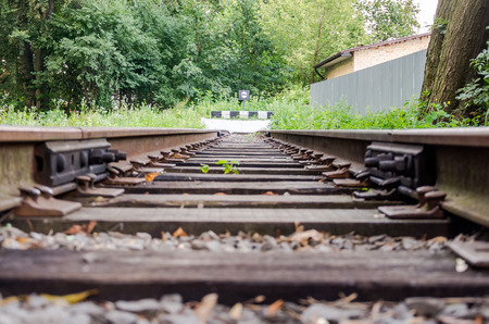 turnout gear: The impasse and end rails to the index mark on the childrens railway in Striysky Park in Lviv