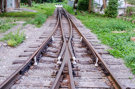 The impasse and end rails to the index mark on the childrens railway in Striysky Park in Lviv