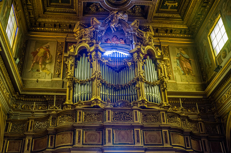 commandment: Musical organ in the Church of the Mamertine prison near the Roman Forum in Italy