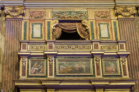 purgatory: Balcony box for emperors and nobles in the church over the Mamertine prison near the Roman Forum in Italy Stock Photo