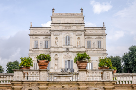 historically: Historically, an important architectural building landmark castle with garden and flowers and shrubs ladshaftnym design in the form of labyrinth in park at Villa Pamphili in Rome, capital of Italy Editorial
