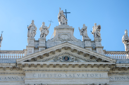 main entrance: Main entrance with statues of the Apostles Basilica di San Giovanni in Laterano in Rome, capital of Italy