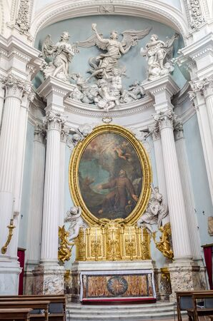 bible altar: Dome of the church with marble sculptures and paintings of saints icons in Basilica di San Giovanni in Laterano in Rome, capital of Italy
