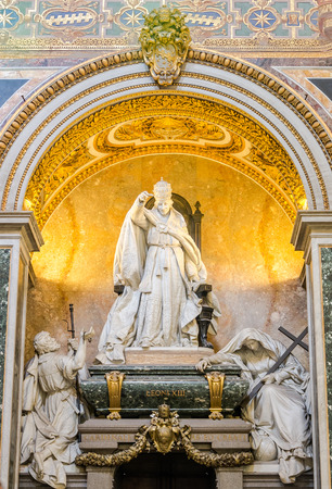 congregation: Marble statue of the bishop and his congregation in Basilica di San Giovanni in Laterano in Rome, capital of Italy Editorial