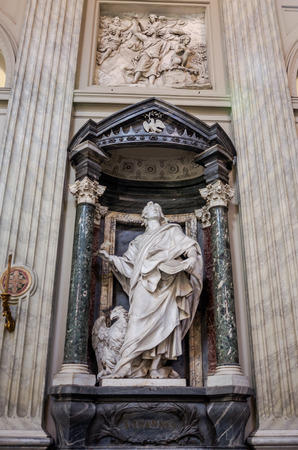 apostle: Roma, Italy - October 2015: A marble statue disciple of Jesus the Apostle of St. Ioannes in Basilica di San Giovanni in Laterano in Rome, capital of Italy