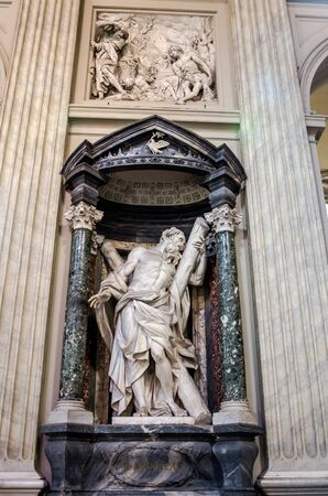 apostle: Roma, Italy - October 2015: A marble statue disciple of Jesus the Apostle of St. Andreas in Basilica di San Giovanni in Laterano in Rome, capital of Italy Editorial