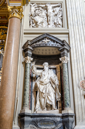 paulus: Roma, Italy - October 2015: A marble statue disciple of Jesus the Apostle of St. Paulus in Basilica di San Giovanni in Laterano in Rome, capital of Italy