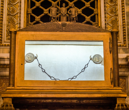 purgatory: Tomb of the sarcophagus of the Apostle Paul, and nine of the chain links which was chained prisoner Paul in the catholic church cathedral basilica of Saint Paul in Rome, Italy