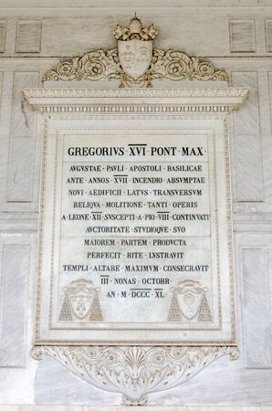purgatory: The marble inscription in Latin on the wall in the catholic church cathedral basilica of Saint Paul in Rome, Italy