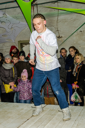 breakdance: LVIV, UKRAINE - DECEMBER, 2015: Performance on the stage in style dancer breakdance Editorial