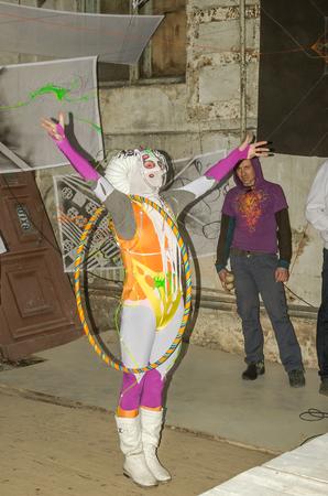 freaky: LVIV, UKRAINE - DECEMBER, 2015: Speech on the stage actor in costume freak