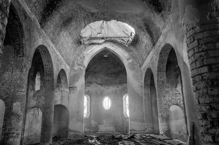 church ruins: The building is an old stone church ruins
