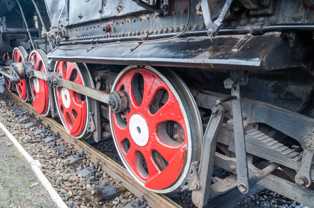 reserved seat: Wheels old vintage retro black locomotive with red star