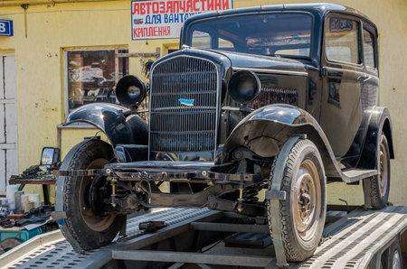 lemberg: LVIV, UKRAINE - APRIL, 2016: Old vintage retro car with chrome parts
