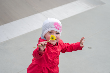 inhaling: Young beautiful girl baby in a red jacket and white hat playing on the playground in the skate park, inhaling the aroma of yellow dandelion flower, smiling and having fun Stock Photo