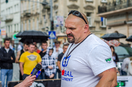 severity: LVIV, UKRAINE - JUNE 2016: The strongest man in the world bodybuilder and athlete Vasyl Virastjuk Editorial