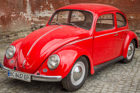 LVIV, UKRAINE - MAY 2017: Old vintage red retro car Editorial