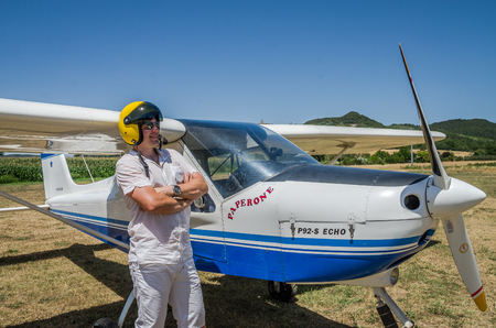 ROMA, ITALY - JULY 2017: Courageous young man Tecnam P92-S Echo