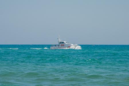 ROMA, ITALY - JULY 2017: Coast Guard in the Tyrrhenian Sea Editorial