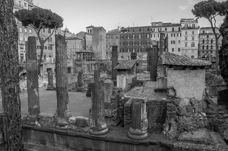 ROMA, ITALY - JULY 2017: Ancient ruins in Torre Argentina Square, the site of the death of Emperor Julius Caesar in Rome, Italy Editorial