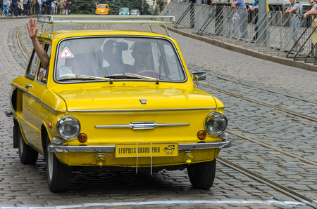 LVIV, UKRAINE - JUNE 2018: Old Soviet vintage retro car ZAZ on car parade through the streets of the city Editorial