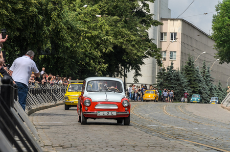 LVIV, UKRAINE - JUNE 2018: Old Soviet vintage retro car ZAZ on car parade through the streets of the city Editorial