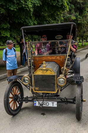 LVIV, UKRAINE - JUNE 2018: Old vintage car Ford-T at the Grand Prix of the Lviv Triangle