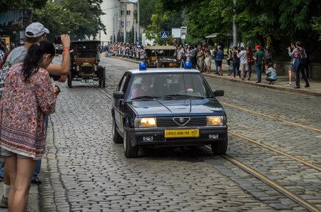LVIV, UKRAINE - JUNE 2018: Old vintage police car Alfa Romeo with flashers and carabinieri inscription Editorial