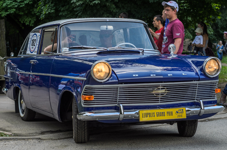 LVIV, UKRAINE - JUNE 2018: Old vintage retro Opel car rides through the streets of the city