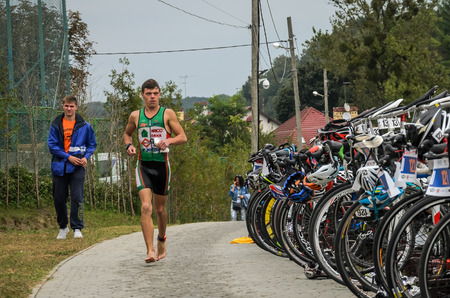 UKRAINE, LVIV - SEPTEMBER 2018: The athlete in the traning of the triathlon competition