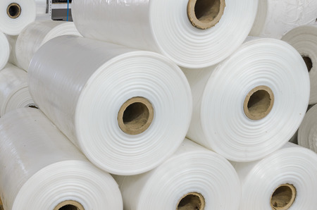 Warehouse with rolls of polyethylene Stockfoto