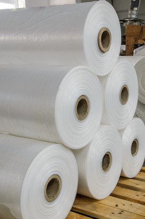 Warehouse with rolls of polyethylene Foto de archivo