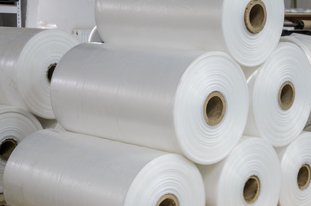 Warehouse with rolls of polyethylene Stock Photo