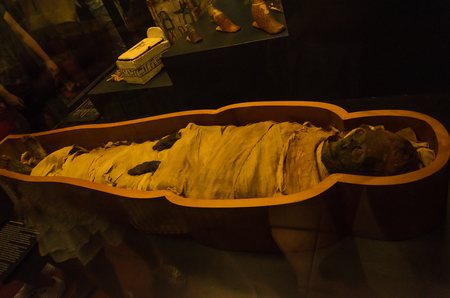 ROMA, ITALY - AUGUST 2018: Ancient Egyptian mummy in the Vatican Museum
