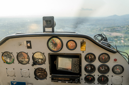 ROMA, ITALY - AUGUST 2018: Dashboard light aircraft Tecnam P92-S Echo