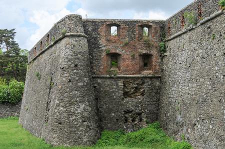 Walls and ruins of Uzhgorod castle Stock Photo
