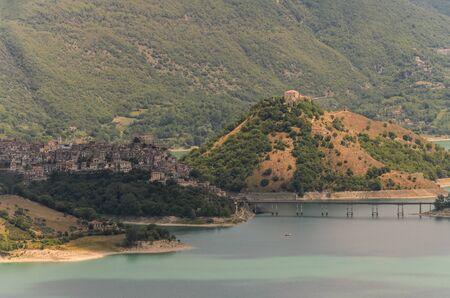 Mountain lake Lago del Turano near Rieti in Italy