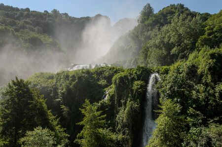 Mountain man-made waterfall Cascata delle Marmore in Italy